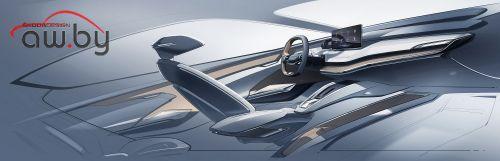 Skoda показала эскиз интерьера нового кросс-купе
